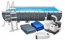 26368 Каркасный бассейн прямоугольный Rectangular Ultra Frame 7,32х3,66х1,32м Intex+песч.фильтр+хлоргенератор 7900 л/ч