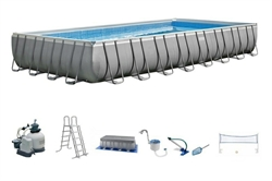 26378 Каркасный бассейн прямоугольный INTEX Rectangular Ultra Frame 9,75х4,88х1,32, фильтр-насос песч. 10000 л/ч+хлоргенератор