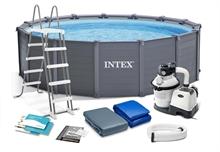 26384 Каркасный бассейн круглый INTEX Sequoia Spirit 4,78х1,24+фильтр-насос песч. 4542 л/ч