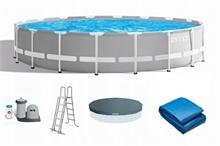 26756 Каркасный бассейн круглый INTEX Prism Frame Pool (круг) 6,10х1,32+фильтр-насос картр. 5678 л/ч