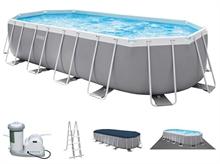 26798 Каркасный бассейн INTEX Prism Frame Pool Oval (овал) 6,10х3,05х1,22+фильтр-насос картр. 5678 л/ч