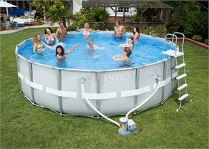 28310 Каркасный бассейн круглый  Intex, 427х107см, фильтр-насос картр 3785 л/ч (56422, 56447)