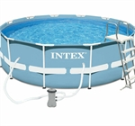 28718 Каркасный бассейн круглый Intex, 366х99см, фильтр-насос картриджный 2006л/ч+лестница