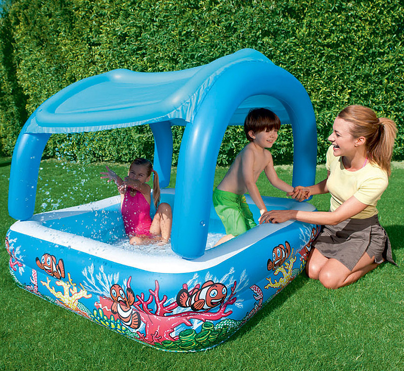 52192 Надувной бассейн с  навесом от солнца Bestway (147 х 147 х 122 см, 265 л)
