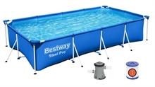 56424 Каркасный бассейн прямоугольный BestWay, 400х211х81см, фильтр-насос картр 1249 л/ч (56251, 56442)