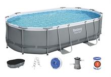 56448 Bestway Овальный каркасный бассейн Power Steel 488x305x107см, фильтр-насос 3028 л/ч