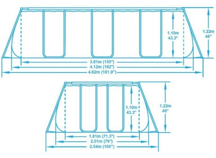 56456 Каркасный бассейн прямоугольный BestWay, 412х201х122см, фильтр-насос картр 2006 л/ч (56244, 56241)