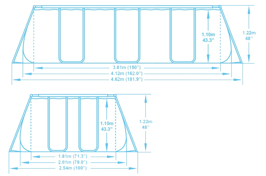 56457 Прямоугольный каркасный бассейн 412х201х122см+песчаный фильтр 2006л/ч