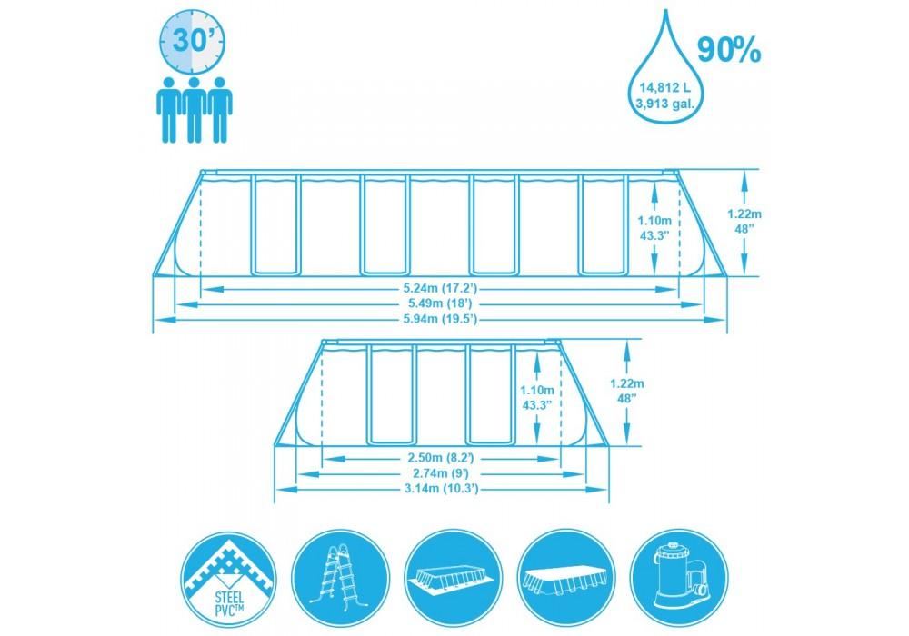 56465 Бассейн каркасный прямоугольный 549х274х122см + фильтр-насос + лестница Bestway
