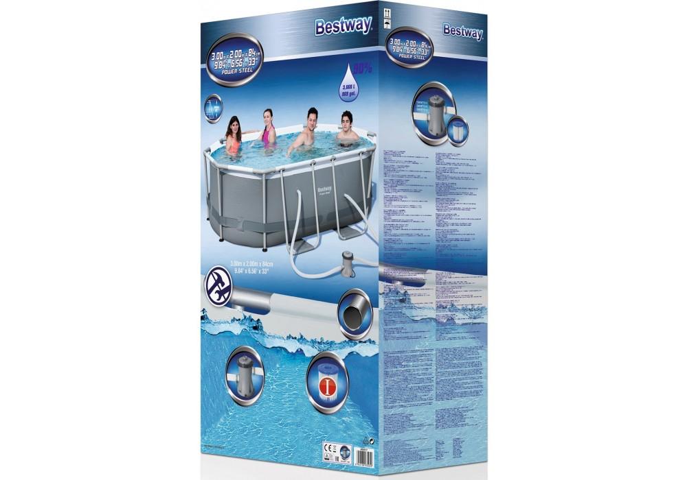 56617 Bestway Овальный каркасный бассейн Power Steel 300 х 200 х 84 см, с ф.-насосом