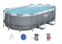 56620 Bestway Каркасный овальный бассейн Power Steel 424х250х100см с ф.-насосом и лестн.