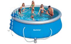 Надувной бассейн 57148 Bestway 457х122см + картриджный фильтр 3785л/ч Fast Set Pool