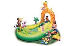 57456 Бассейн надувной Игровой центр с горкой динозаврик