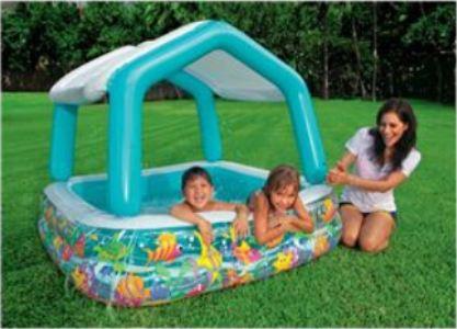 57470 Детский надувной бассейн Intex «Бассейн с козырьком» квадратный