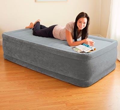 64412 Надувная кровать односпальная с встроенным насосом Intex (99х191х46)