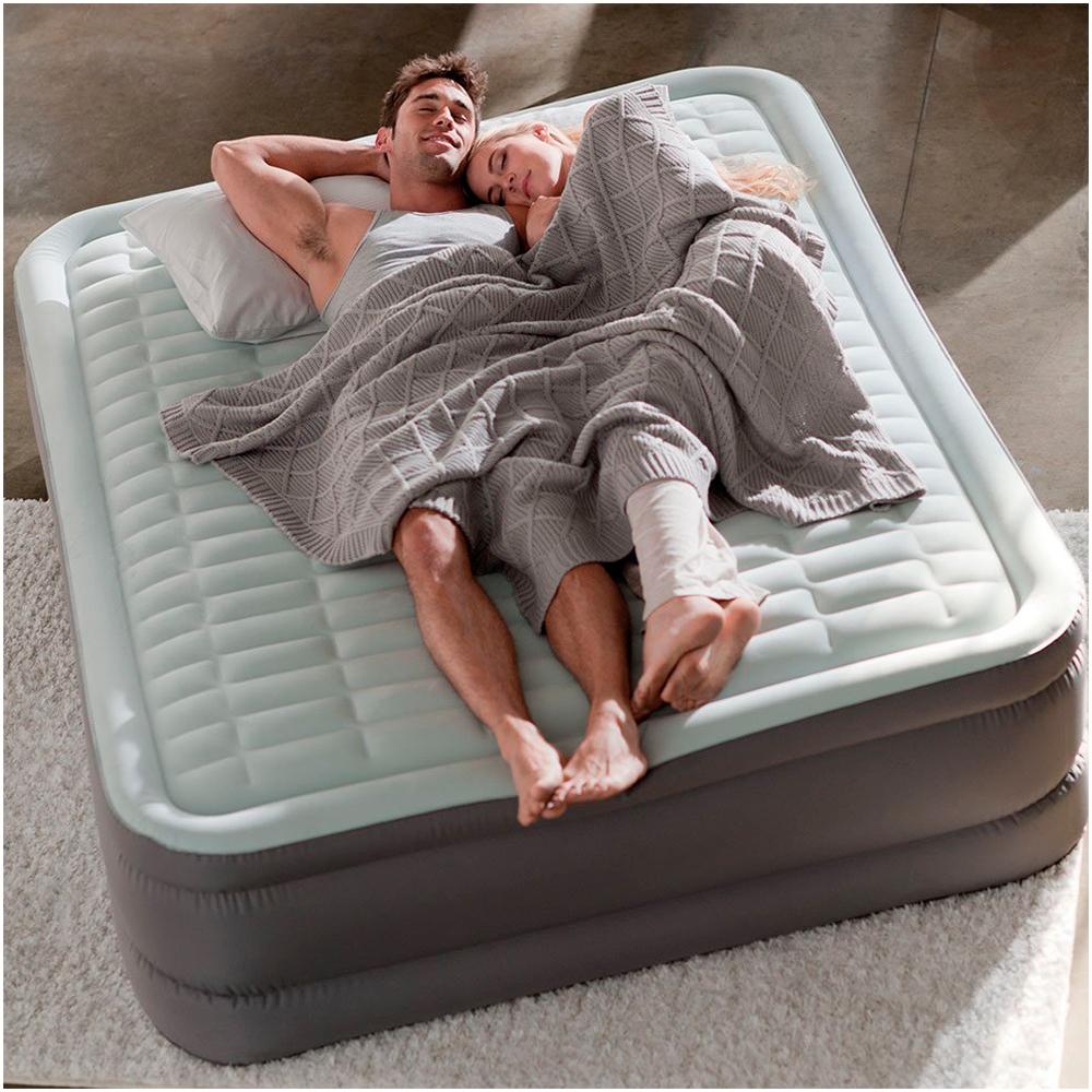 64486 Двуспальная надувная кровать Intex PremAire Elevated Airbed 152х203х46см (со встроенным насосом 220В)