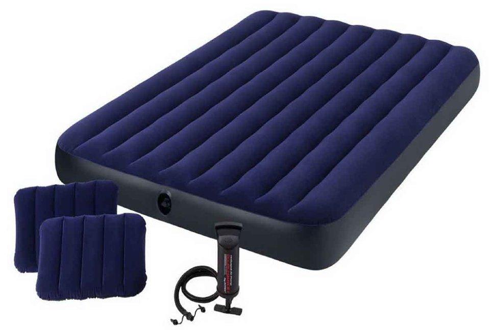 Матрас надувной Classic Downy Fiber-Tech 152x203х25 см, с ручным насосом 64765