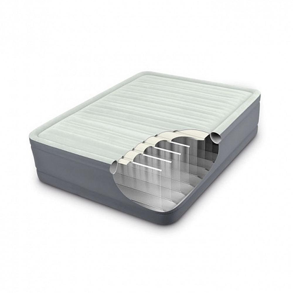 64902 Кровать надувная односпальная со встроенным насосом 220В 99х191х46см Intex