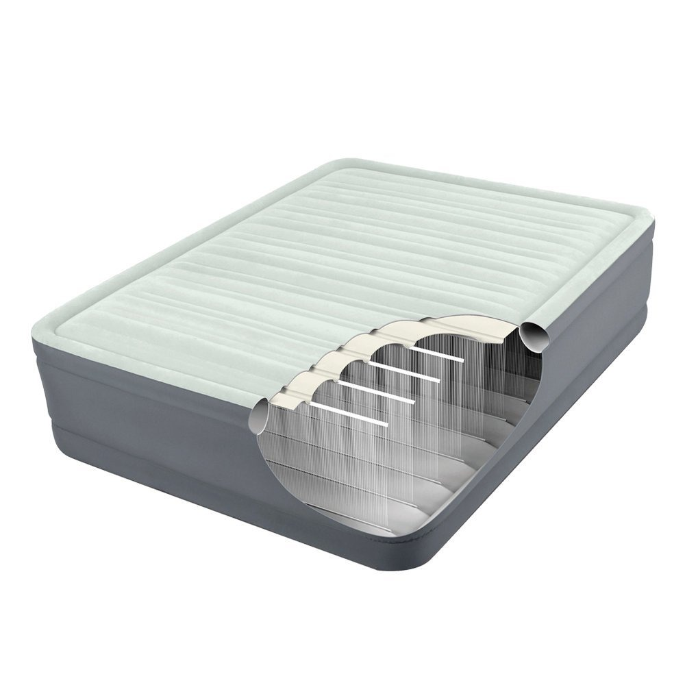 64906 Кровать надувная двуспальная со встроенным насосом 220В 152х203х46см Intex