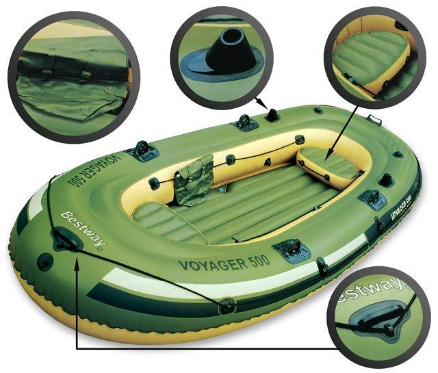 65001 Bestway Надувная лодка VOYAGER 500 (348х141х51 см) + весла