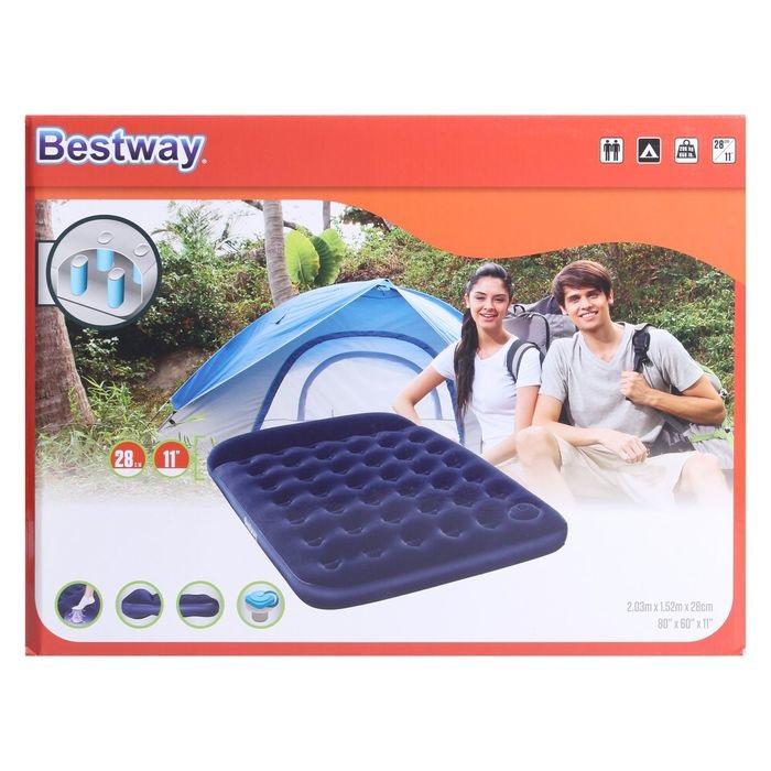 67226 Bestway Надувной матрас Easy Inflate Flocked Air Bed(Queen) 203x152x28 см, встроенный ножной насос