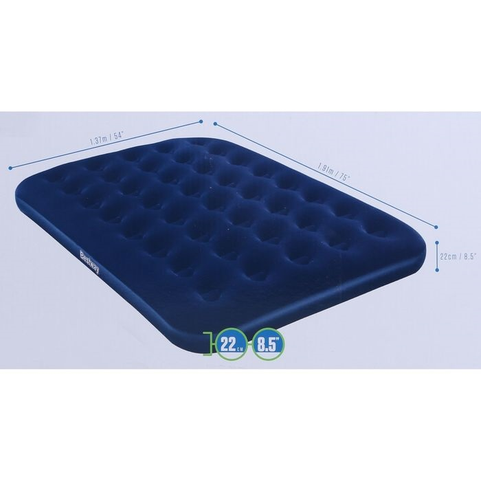 67287 Bestway Надувной матрас Flocked Air Bed - Air Pump(Double) 191х137х22 см, электронасос в комплекте