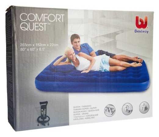 67374 Bestway Надувной матрас Flocked Air Bed With Air Pump(Queen) 203х152х22 см с ручным насосом и 2 подушками