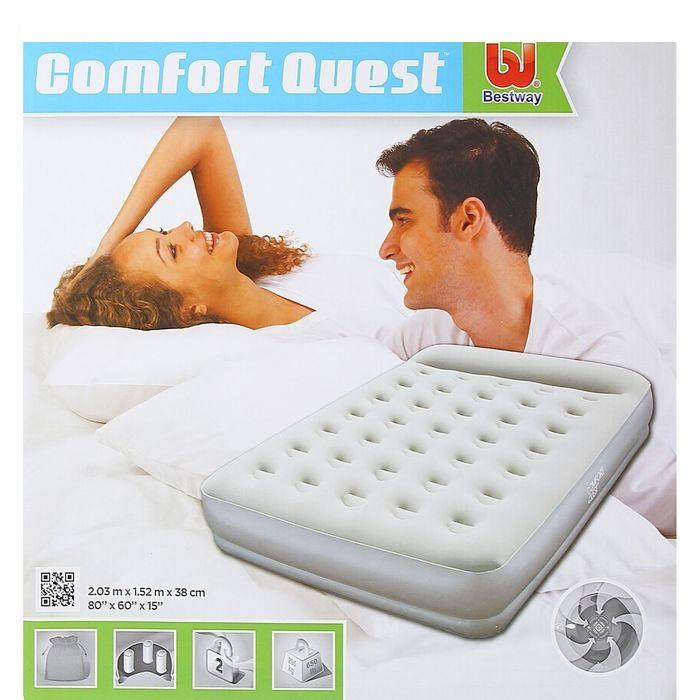 67459 Bestway Надувная кровать Restaira Premium Airbed(Queen) 203х152х38 см со встроенным насосом