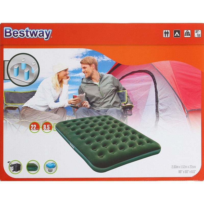 67555 Bestway Надувной матрас Flocked Air Bed(Queen) - D Cell Pump 203x152x22 см + насос на батарейках