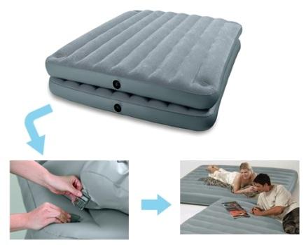 67744 Двухспальная надувная кровать-матрас Intex 152х203х46см, без насоса, 2 в 1