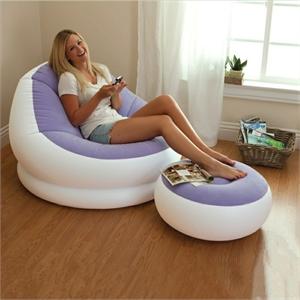 68572 Надувное кресло лоундж с пуфиком Intex