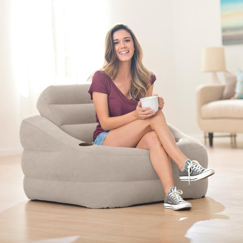 68587 Надувное кресло Intex Accent Chair, серое
