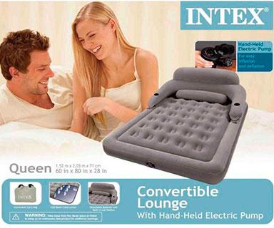 68916 Надувной матрас-трансформер Intex Convertible lounge Bed Queen с насосом 220В (152х203х71)см