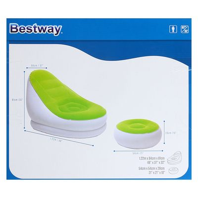 75053 Bestway Надувное кресло Comfort Cruiser Inflate-A-Chair 122х94х81 см с пуфиком для ног 54х54х26 см