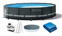 26326 Каркасный бассейн Ultra Frame 488х122см Intex+песч. фильтр 4542 л/ч