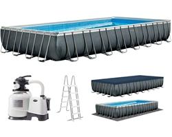 26374 Каркасный бассейн прямоугольный Rectangular Ultra Frame 9,75х4,88х1,32 Intex+песч.фильтр 10000 л/ч