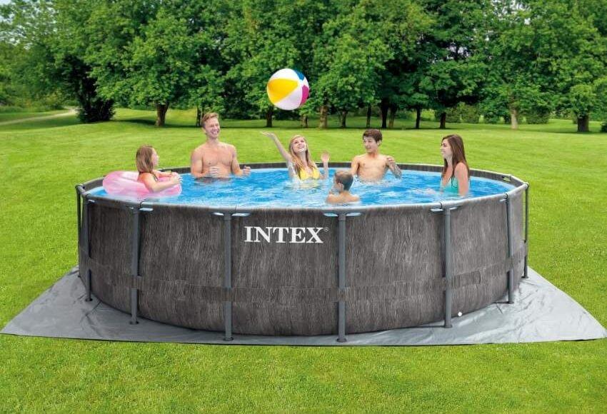 26744 Каркасный бассейн круглый Intex GreyWood, 549х122см (полный комплект)