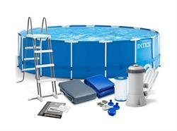 28242 Каркасный бассейн круглый INTEX 457х122+фильтр-насос картр. 3785 л/ч