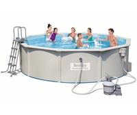 56384 Каркасный бассейн круглый со стальными стенками BestWay, 460х120см, фильтр-насос песчанный 3785 л/ч (56611)