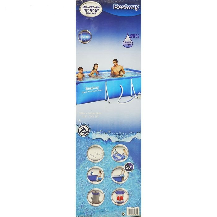 56411 Каркасный бассейн прямоугольный BestWay, 300х201х66см, фильтр-насос картр 1249 л/ч