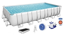 56474 Каркасный бассейн прямоугольный BestWay, 732х366х132см, фильтр-насос картр 9463 л/ч