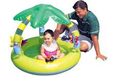 57405 Бассейн надувной с надувными игрушками, надувным дном и пальмой