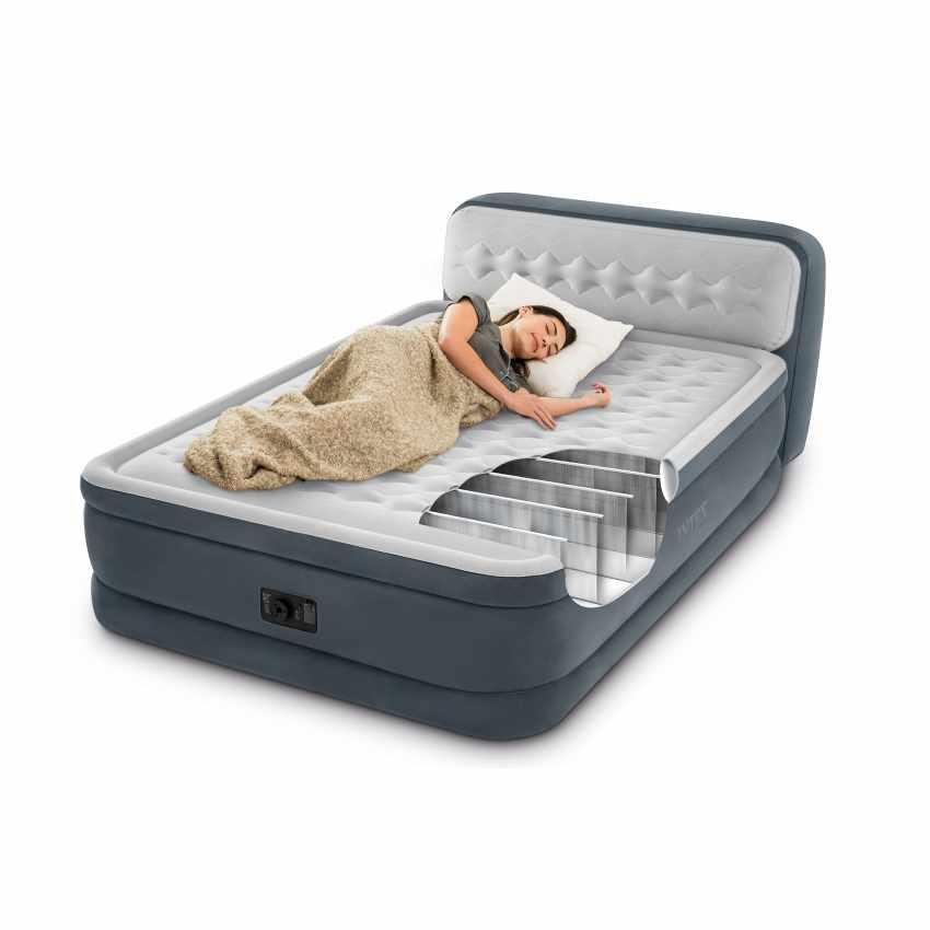 64448 Надувная кровать двухспальная со спинкой 152х236х86см с встроенным насосам