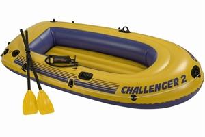 68367 Двухместная надувная лодка Intex Challenger-2 Set + пластиковые вёсла и насос