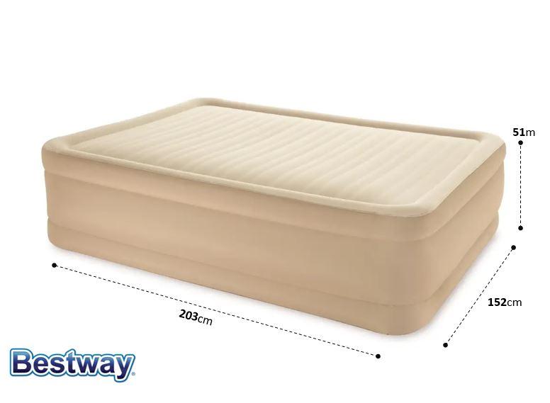 69037 Надувная двухспальная кровать BestWay 203х152х51см, встроенный насос с автоподкачкой